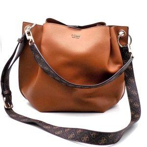 GUESS Multi Digital Hobo Bucket Bag Cognac Gold